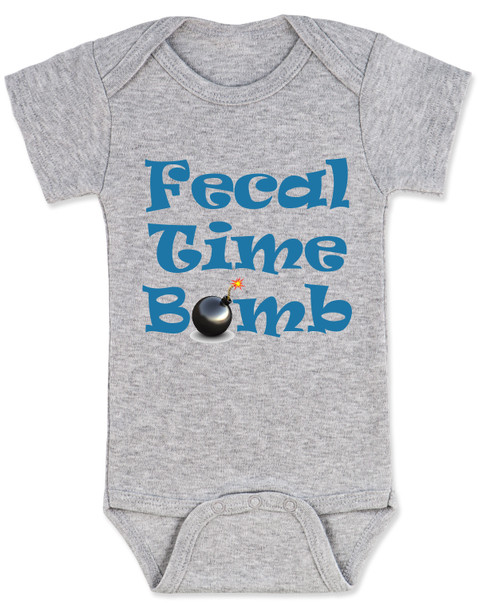 Fecal time bomb onesie, fecal time bomb bodysuit, john oliver mount everest baby onesie, grey