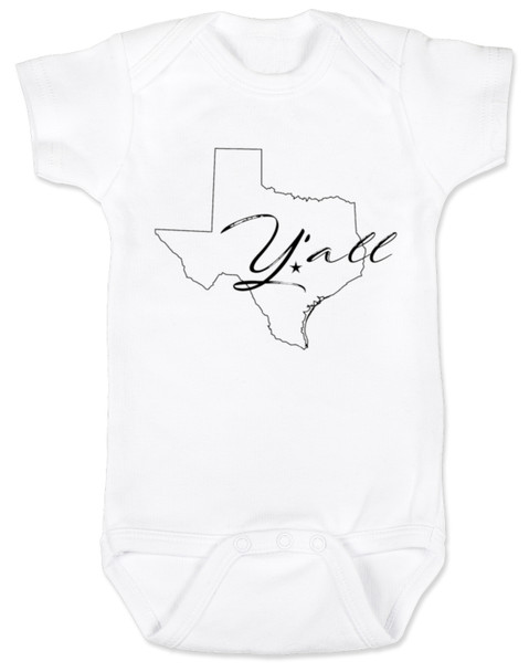texas yall onesie, yall baby bodysuit, texas outline baby clothing, white