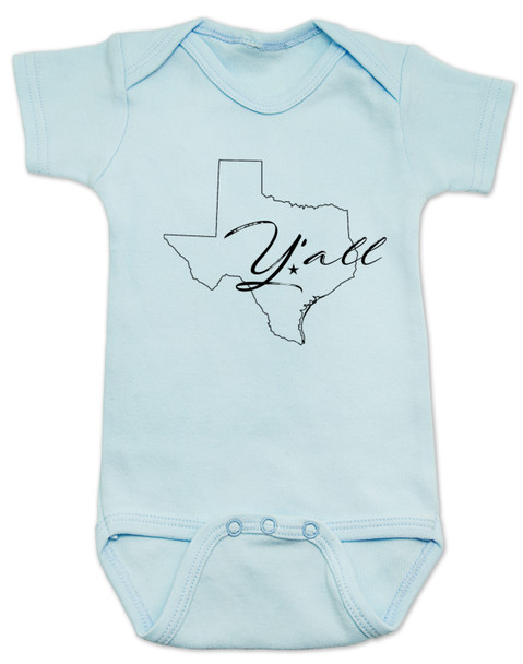 texas yall onesie, yall baby bodysuit, texas outline baby clothing, blue