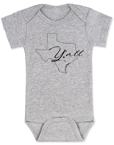 texas yall onesie, yall baby bodysuit, texas outline baby clothing, grey