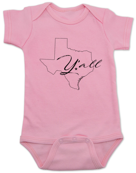 texas yall onesie, yall baby bodysuit, texas outline baby clothing, pink