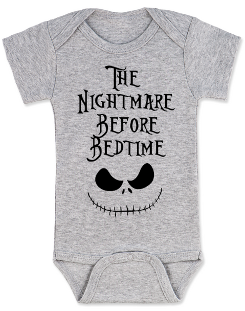 Nightmare before bedtime baby Bodysuit, funny christmas baby clothes, nightmare before christmas, jack the pumpkin king, grey