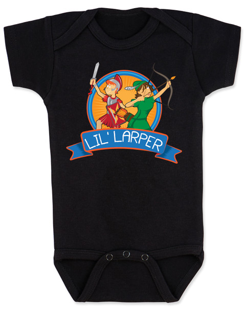 Lil Larper baby bodysuit, geeky baby gift, LARP baby, future larper, lil' larper, fantasy baby present, D & D baby, newbie, nerdy parents, geek gift for new parents, gamer parents, L.A.R.P., elven warrior baby, knight, mage baby, black