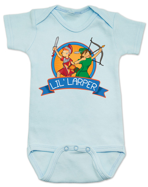 Lil Larper baby bodysuit, geeky baby gift, LARP baby, future larper, lil' larper, fantasy baby present, D & D baby, newbie, nerdy parents, geek gift for new parents, gamer parents, L.A.R.P., elven warrior baby, knight, mage baby, blue