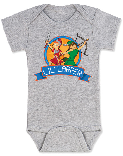 Lil Larper baby bodysuit, geeky baby gift, LARP baby, future larper, lil' larper, fantasy baby present, D & D baby, newbie, nerdy parents, geek gift for new parents, gamer parents, L.A.R.P., elven warrior baby, knight, mage baby, grey