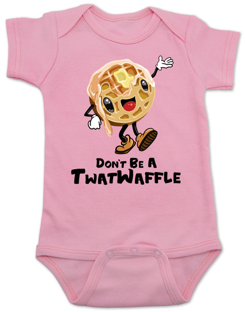 Don't be a Twatwaffle, punny baby bodysuit, offensive baby clothes, funny baby gift, cute waffle with face, twatwaffle cartoon, twat waffle gift, rude baby, badass baby, pink