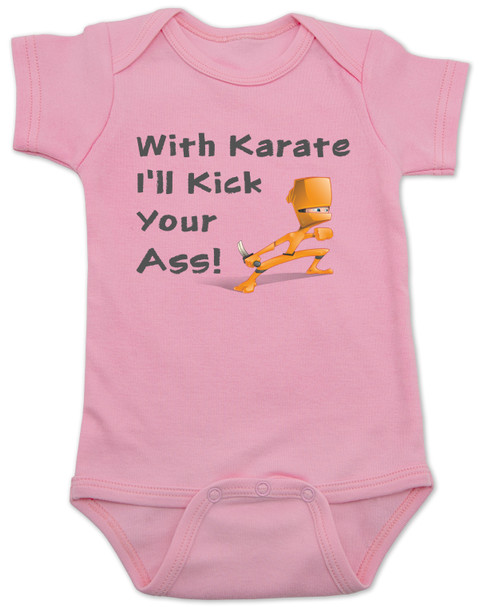 karate baby bodysuit, funny ninja baby, with karate I'll kick your ass, tenacious d baby onesie, kung fu baby gift, daddy ninja, mommy ninja, I'll kick your ass baby, badass baby, gift for cool new parents, baby ninja skills, pink bodysuit