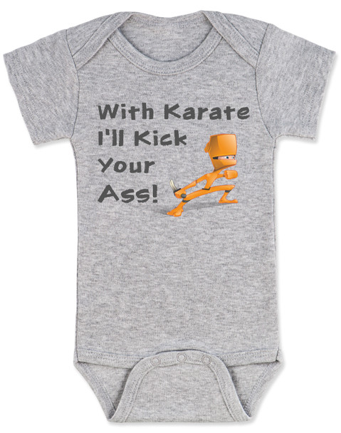 karate baby bodysuit, funny ninja baby, with karate I'll kick your ass, tenacious d baby onesie, kung fu baby gift, daddy ninja, mommy ninja, I'll kick your ass baby, badass baby, gift for cool new parents, baby ninja skills, grey bodysuit