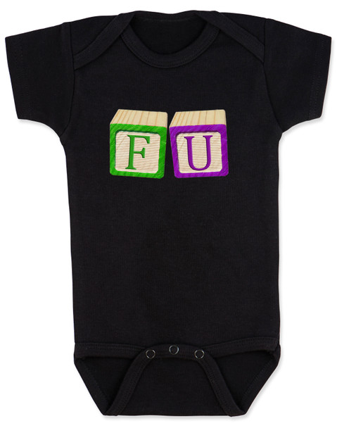 FU blocks baby Bodysuit, F you baby onsie, wooden blocks, rude blocks, offensive infant bodysuit, F bomb baby clothes, funny baby gift, black