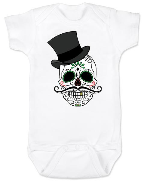 Dia de los Muertos baby Bodysuit, top hat skull, sugar skull Bodysuit, Day of the dead baby Bodysuit, Halloween baby Bodysuit, sugar skull halloween baby, white