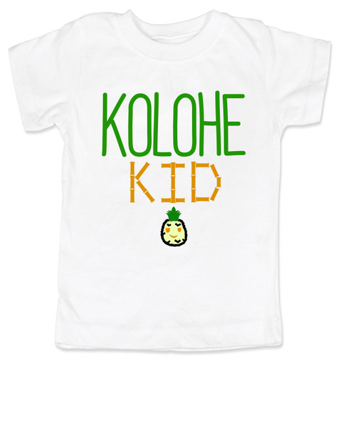 Kolohe Kid, Kolohe Baby, Hawaiian toddler shirt, wild child, crazy kids shirt, funny Hawaiian shirt for toddler, cute pineapple tshirt, Hawaii kids, beachy kids funny shirt, cool kids shirt, white