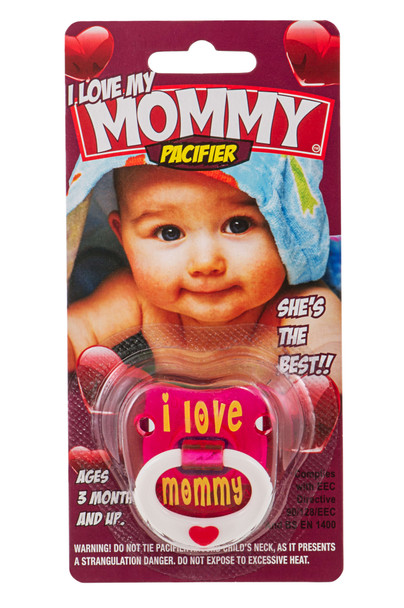 I love my mommy, i love mommy binkie, mommy love baby binky, cute baby pacifier for girls, pink baby pacifier, love my mommy pacifier, pacifier in packaging