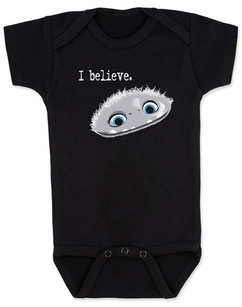 Abominable snowman bodysuit, i believe in abominable snowman, i believe in yeti, yeti baby bodysuit, cute abominable snowman baby, abominable movie, black