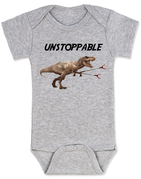 Unstoppable T-Rex dinosaur baby Bodysuit, T-Rex with grabbers, grey