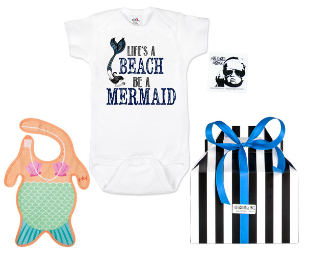 Mermaid baby gift set, Little Mermaid Baby Box, lifes a beach, be a mermaid, funny ocean themed gift set, mermaid baby bib, cute gift set for girls, mermaid baby girl gift, baby shower gift for ocean lovers, i come from the water, water baby gift, cool baby girl gift set