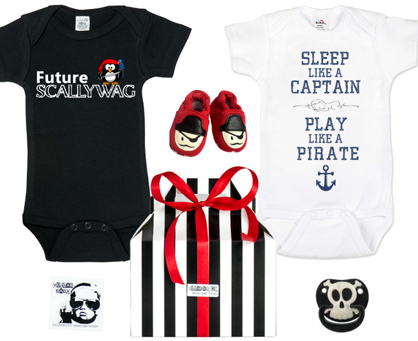 Pirate baby gift set, Little Pirate Baby Box, Future Scallywag, Sleep like a captain, Play like a pirate, lifes a beach, be a mermaid, funny ocean themed gift set, Pirate baby shoes, skull baby pacifier, skull binkie, nautical baby shower gift, I run this ship, Pirate Captain Baby, baby shower gift for ocean lovers, i come from the water, water baby gift, cool baby Pirate gift set