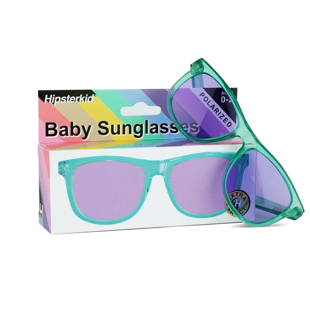 Hipsterkid Aquaberry sunglasses, toddler sunglasses, baby sunglasses, aqua blue sunglasses, retro baby sunglasses, cool kids sunglasses, turquoise and purple baby glasses, with packaging