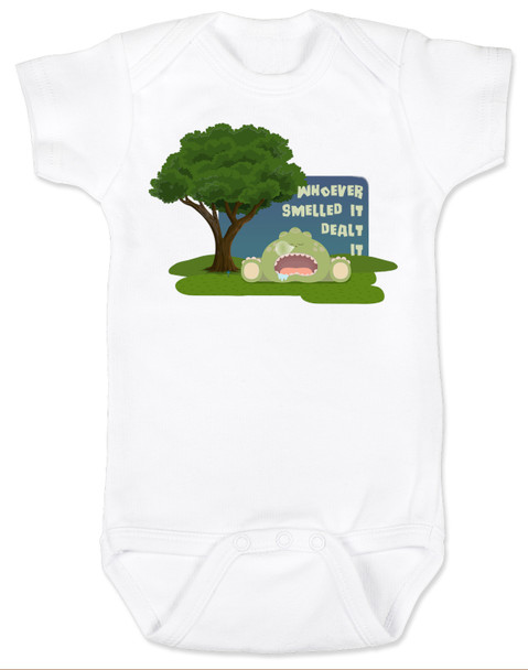 Whoever smelled it dealt it, fart joke baby gift, funny baby shower gift, stinky baby, funny baby bodysuit, farting baby, white