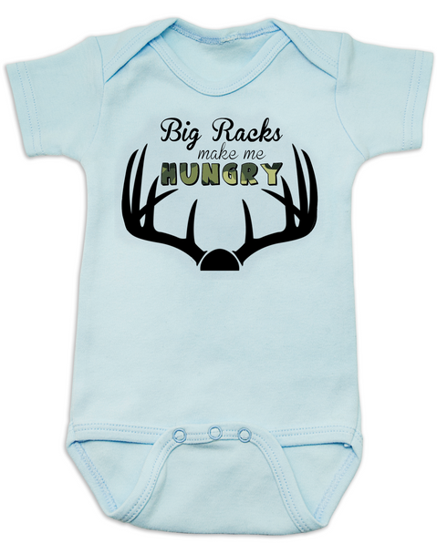 Big Racks make me hungry baby Bodysuit, funny Hunting baby onsie, funny breastfeeding Bodysuit, baby hunter, daddy's future hunting buddy, deer horns, camo baby bodysuit, blue