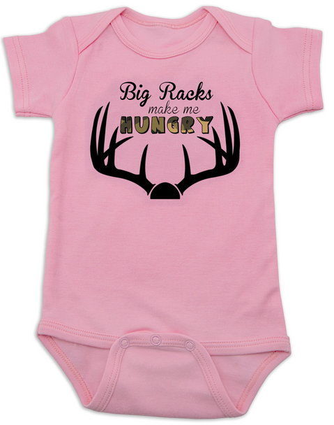 Big Racks make me hungry baby Bodysuit, funny Hunting baby onsie, funny breastfeeding Bodysuit, baby hunter, daddy's future hunting buddy, deer horns, camo baby bodysuit, pink