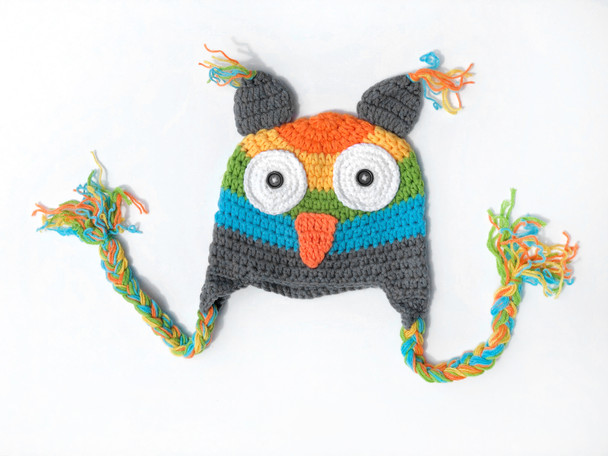 Crochet Owl hat, fun toddler crochet hat, knit owl winter hat, toddler owl hat with tassels, knitted animal hat for toddlers, Owl baby hat, colorful knit hat for little kids, rainbow crochet hat for little kids, rainbow owl toddler hat