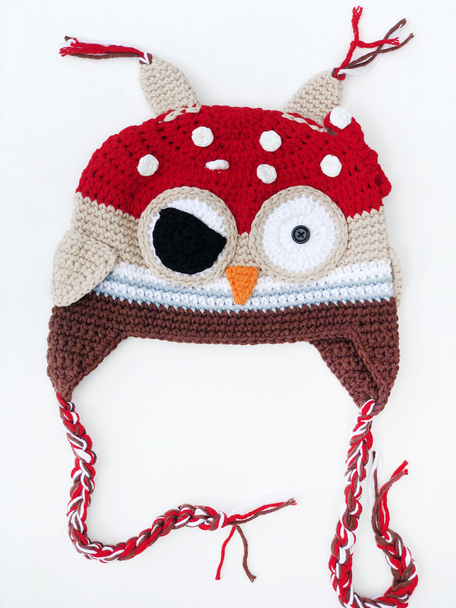 Crochet Owl hat, Pirate Owl toddler crochet hat, knit owl winter hat, toddler owl hat with tassels, knitted animal hat for toddlers, Owl baby hat, fun winter knit hat for little kids, cool kids hat, pirate crochet hat for little kids, Pirate owl toddler hat