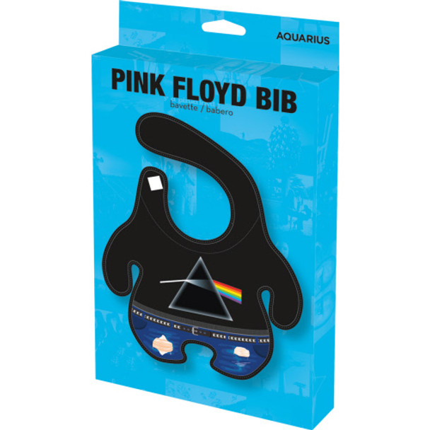 pink floyd baby bib, rock and roll baby bib, cool baby gift, parents who love pink floyd, classic rock baby gift, future rocker, dark side of the moon baby bib, cool baby shower gift, bib in packaging