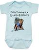 game of thrones baby Bodysuit, potty training is a game of thrones, toilet training, poop is coming, little lanister, blue