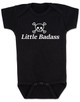 Little Badass Baby Bodysuit, rock and roll baby onsie, gift for cool parents, skull and crossbones baby clothes, Personalized Little Badass Baby Bodysuit with custom name, black
