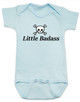 Little Badass Baby Bodysuit, rock and roll baby onsie, gift for cool parents, skull and crossbones baby clothes, Personalized Little Badass Baby Bodysuit with custom name, blue