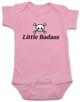 Little Badass Baby Bodysuit, rock and roll baby onsie, gift for cool parents, skull and crossbones baby clothes, Personalized Little Badass Baby Bodysuit with custom name, pink
