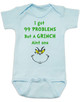 Grinch Problems Baby Bodysuit, Christmas Grinch Bodysuit, funny christmas baby clothes, Funny Christmas Bodysuit, 99 Problems, Jay-Z, The Grinch Onsie, blue
