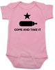 Come and take it Bodysuit, Baby Texas Proud, Southern State Pride Bodysuit, Funny Texas Onsie, redneck baby, born in the south, gun rights, second amendment, Texas revolution, battle of Gonzales, right to bear arms baby Bodysuit, pink