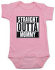 straight outta mommy baby Bodysuit, nwa baby onsie, classic hip hop music, Straight Outta Compton, gangster rap, pink