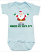 Where My Ho's At Baby Bodysuit, Ho Ho Ho baby Bodysuit, Badass Santa Claus, Offensive Christmas Bodysuit, funny holiday baby Bodysuit, funny christmas baby clothes, blue
