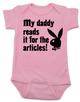 Playboy baby Bodysuit, Playboy bunny infant bodysuit, Playboy baby onsie, My Daddy Reads playboy for the articles, I read it for the articles, Funny playboy magazine baby gift, pink