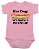 Hot Dog baby Bodysuit, we have a wiener, punniest baby award, funny hot dog onsie, pink