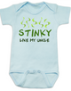 Stinky like my uncle baby Bodysuit, funny and personalized uncle onsie, blue