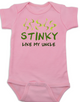 Stinky like my uncle baby Bodysuit, funny and personalized uncle onsie, pink