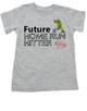 Future Home Run Hitter toddler shirt, Future Baseball Player, Play Ball, Girl Softball player,  Sports toddler t-shirt, personalized with custom name, grey