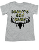 Daddy's Got Game toddler shirt, Future hunting buddy, Little hunter, dad loves to hunt, deer hunting, big buck, deer antlers, camo kid, hunting with dad toddler t-shirt, grey