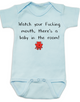 Watch your fucking mouth there is a baby in the room, funny offensive baby Bodysuit, no cussing around baby, blue