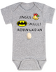 Jingle bells, batman smells, funny christmas baby clothes, robin laid an egg, funny jingle bells Bodysuit, silly christmas onsie, grey