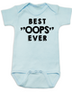 """Best OOPS ever baby Bodysuit, unplanned pregnancy, best accident baby onsie, Best """"OOPS"""" ever, funny baby shower gag gift, happy accident, blue"""