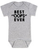 """Best OOPS ever baby Bodysuit, unplanned pregnancy, best accident baby onsie, Best """"OOPS"""" ever, funny baby shower gag gift, happy accident, grey"""