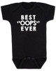 """Best OOPS ever baby Bodysuit, unplanned pregnancy, best accident baby onsie, Best """"OOPS"""" ever, funny baby shower gag gift, happy accident, black"""
