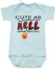 Cute as Hell Baby Bodysuit, little hellion, little devil baby Bodysuit, cute as hell infant bodysuit, cute as shit baby onsie, blue