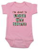 About to lose my shit baby Bodysuit, I'm about to lose my shit, baby is about lose his shit, funny baby Bodysuit about poop, funny offensive baby Bodysuit, I'm going to lose my shit baby, pink