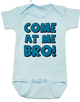 Come at me bro baby Bodysuit, funny tough baby Bodysuit, come at me bro, blue