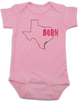 Born in Texas Bodysuit. Show your Home State pride. Unique, cool, badass baby clothes. Makes a great baby shower gift. Shown in Pink